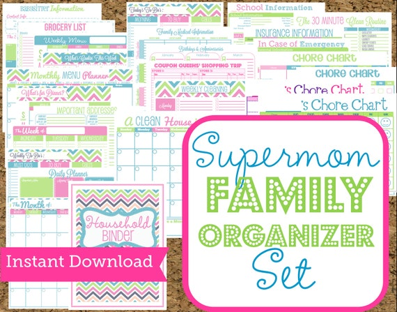 INSTANT DOWNLOAD Mom Planners- Home Organization Printables-30 Sheets-Instant Download