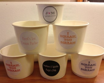 50 White Paper Ice Cream Cups - 12 oz with Custom stickers
