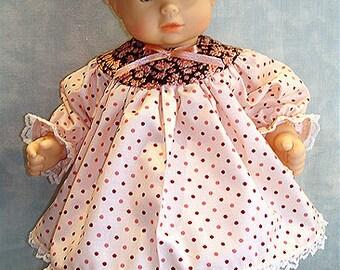 15 Inch Doll Clothes - Peach Polka Dot Brown Yoke Dress handmade by Jane Ellen to fit 15 inch baby dolls