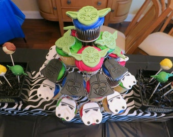 12 Star Jedi Galaxy War Fondant Cupcake Toppers-3 types