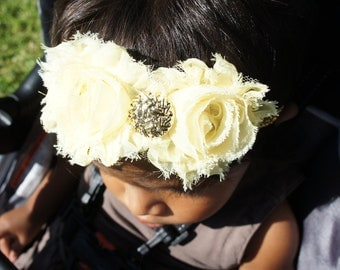 Yellow Fabric Flower Headband, Girl Headband, Baby Girl Headband, Infant Headband, Newborn Girl Headband, Headband