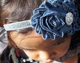 Blue Denim Fabric Flower Headband, Girl Headband, Baby Girl Headband, Infant Headband, Newborn Girl Headband, Headband