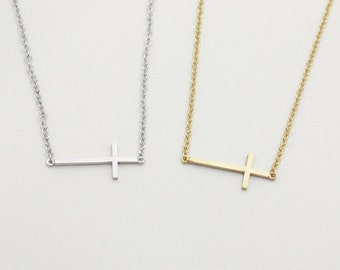 Sideways cross bracelet, Choose your color - Gold/ White gold