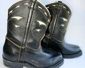 Vintage children's B.F. Goodrich cowboy boots, black, size 5-1/2, boys', western style