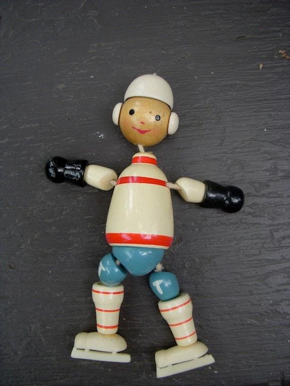 Vintage Hockey Wood  Toy/ Ornatment/ Puppet