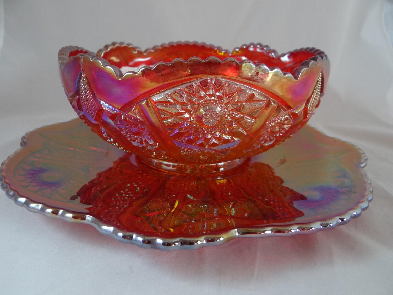 Indiana Glass Heirloom Red Carnival Glass 2 Piece Dessert Set