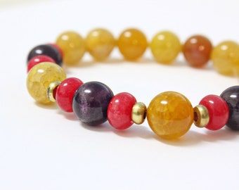 Beaded Stone Stretch Bracelet Handmade Amethyst  Yellow Fire Cracked Agate and Red Agate Purple Autumn Fall Colors Brass boho soho