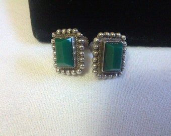 Incredible Vintage 925 Silver and Malachite screw back earrings