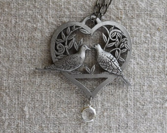 Pewter Love Birds on a Branch  Inside a Heart Shaped Pendant with a Crystal Dangle, Lovebirds, Heart, Valentines Day gift, Birthday gift