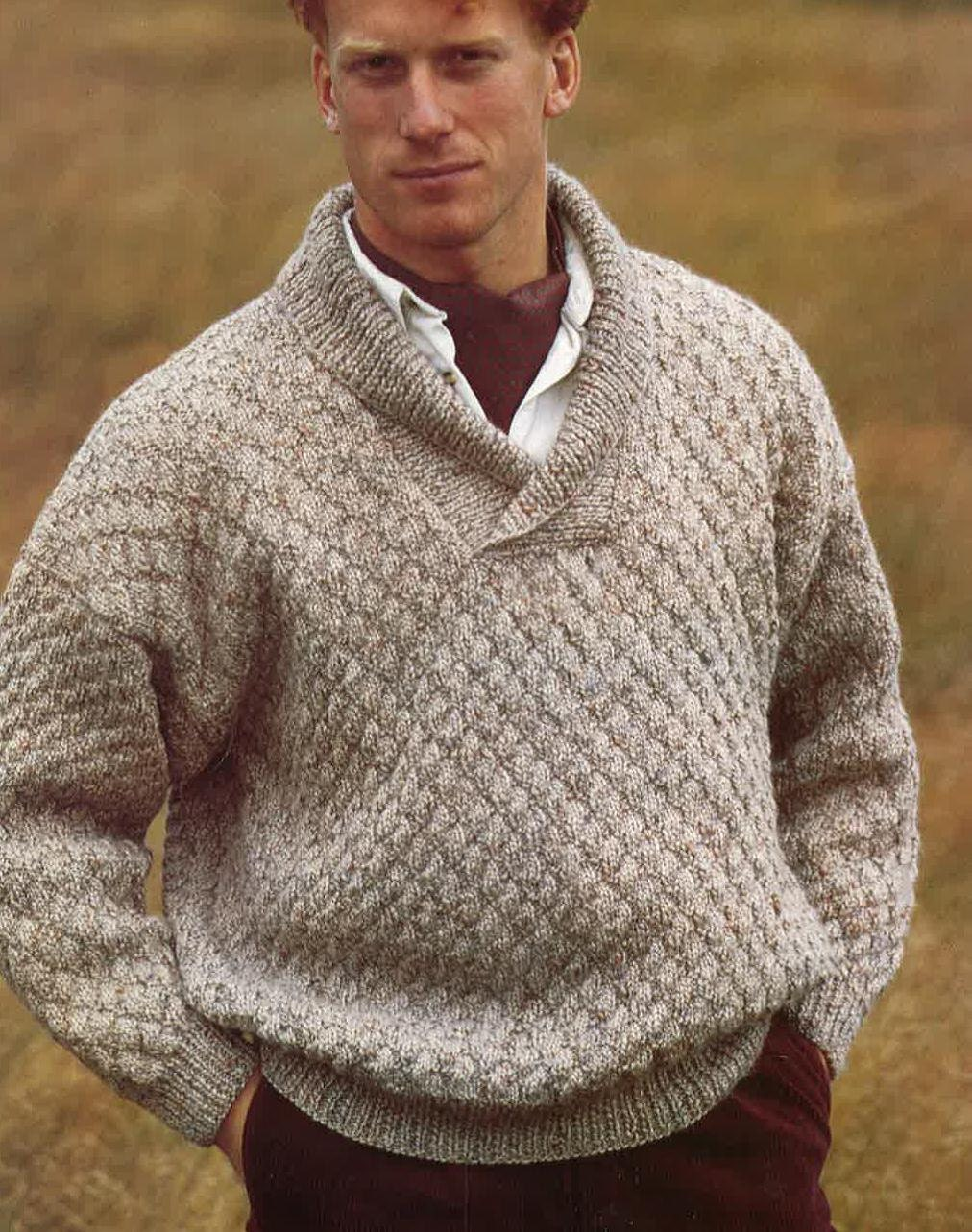 Easy Knitted Slouchy Hat Pattern : Knitting Pattern Mens Sweater Jumper Size 34in 44in PDF