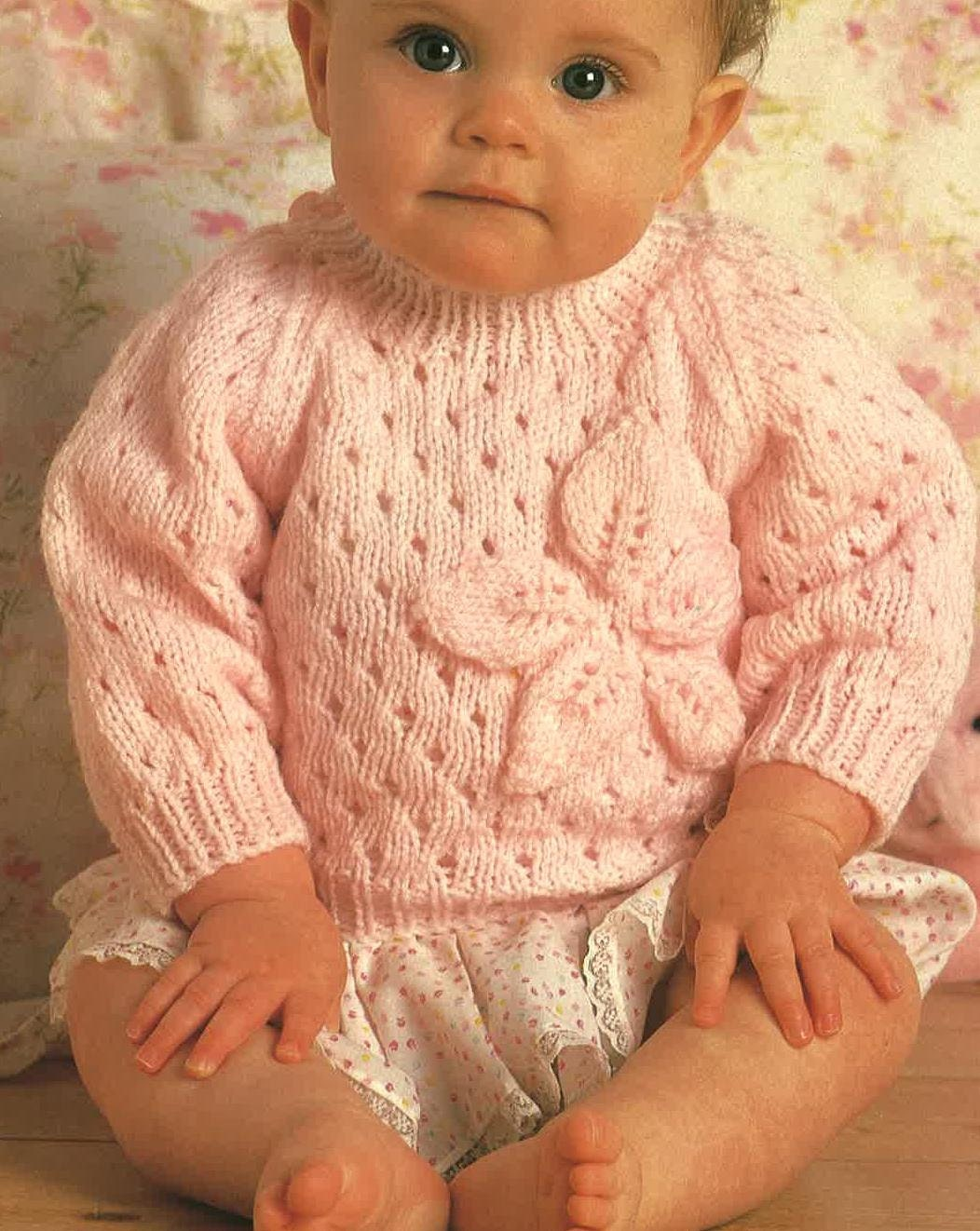 Knitting Baby Sweater Measurements : Knitting pattern baby sweater jumper size ins yarn