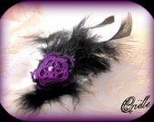 Tatted Feather Fascinator Hair Clip - Brooch - Black and Purple