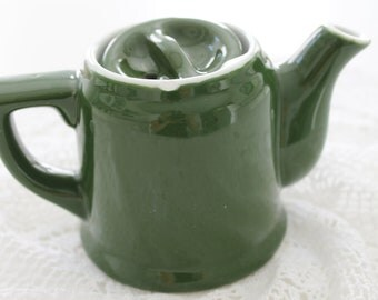 Vintage Green Pottery Single Cup Tea Pot Restaurant Ware