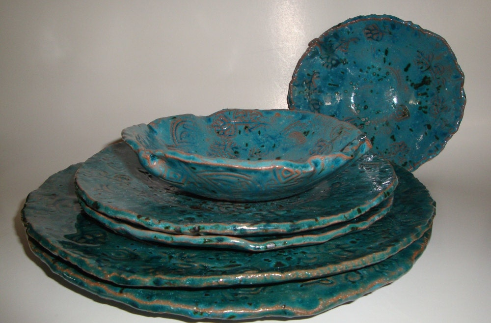 Turquoise handmade and stamped pottery by hiddenfirepottery for Handmade dinnerware