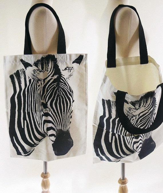 ZEBRA BAG - Zebra Canvas Bag Horse Bag Striped Canvas Bag Tote Bag Animal Bag Shopping Bag Market Bag Funny Bag Chic Fashion Bag Big Size