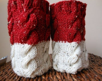 Hand Knitted Boot Cuffs Leg Warmers 2in1 Cream and Red Tweed