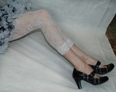 Leggings tights white lace footless capris soft socks victorian winter white