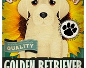 Dogs and Flowers Art Print - Golden Retriever Art Print 11 x 14