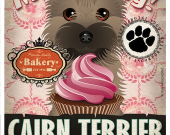 Cairn Terrier Cupcake Company Original Art Print - Custom Dog Breed Print -11x14- Customize with Your Dog's Name - Dogs Incorporated