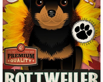 Dogs and Flowers Art Print - Rottweiler Print 11 x 14