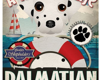 Dalmatian Sailing Company Original Art Print 11x14- Customize with Your Dog's Name
