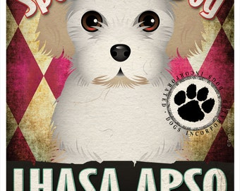 Lhasa Apso Pampered Pups Original Art Print - 11x14 - Dog Poster - Dogs Incorporated