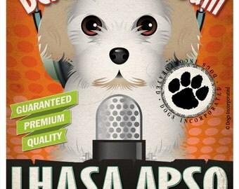 Lhasa Apso Recording Studio Original Art Print - Custom Dog Breed Print - 11x14 - Personalize with Your Dog's Name
