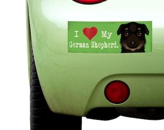 "Dogs Incorporated I Love My German Shepherd - I Heart My Dog Bumper Sticker 3""x 8"" Coated Vinyl"