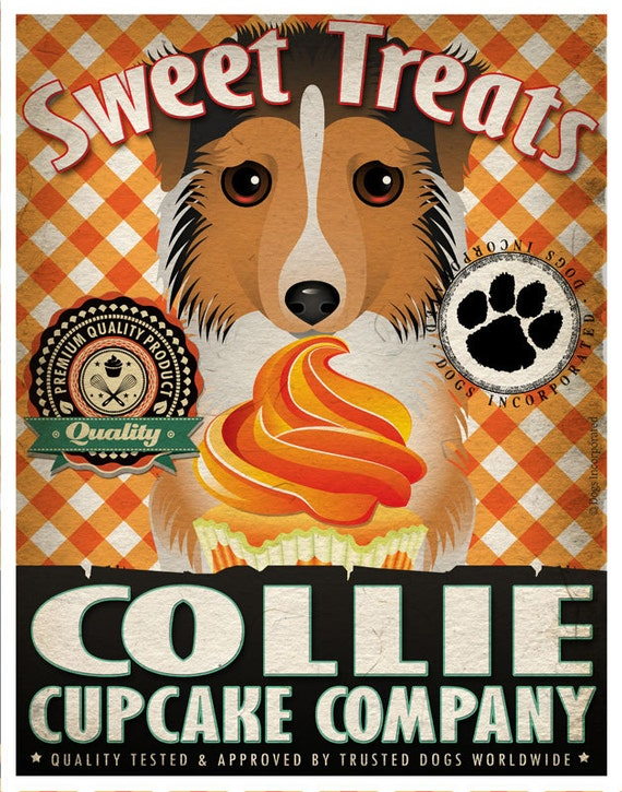 Collie Cupcake Company Original Art Print - Custom Dog Breed Print -11x14- Customize with Your Dog's Name - Dogs Incorporated