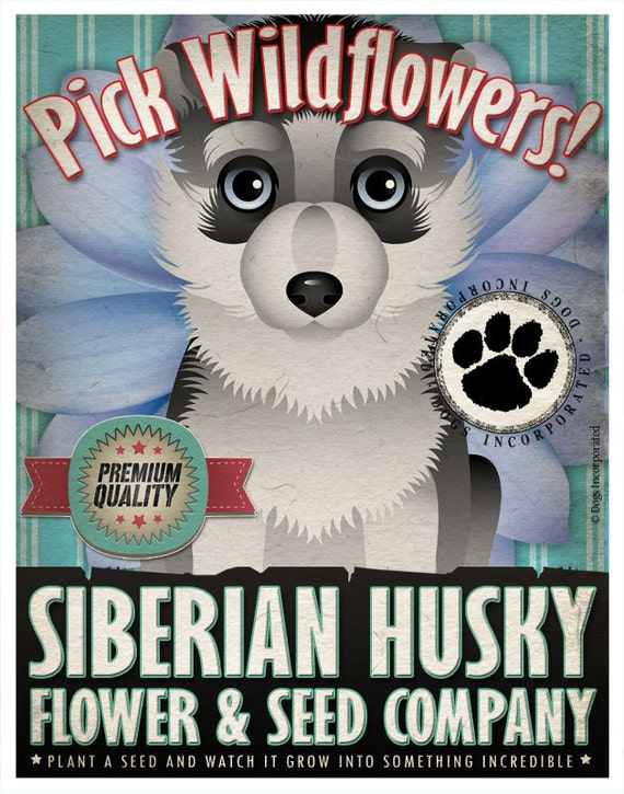 Dogs and Flowers Art Print - Siberian Husky Art Print 11 x 14