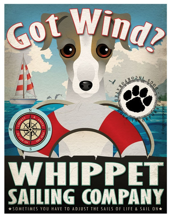 Whippet Sailing Company Original Art Print - 11x14 - Customize with Your Dog's Name