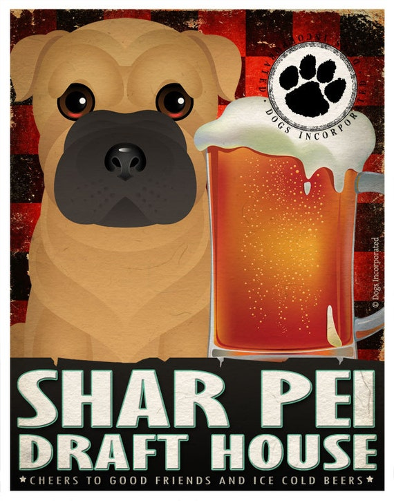 Shar Pei Drinking Dogs Original Art Poster Print - Personalized Dog Wall Art -11x14- Customize with Your Dog's Name - Dogs Incorporated