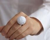 White beaded balls fabric ring thread cotton for women textile natural white geometrical winter fashion christmas