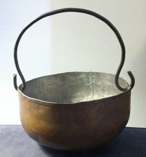 Primitive Antique Copper Pot Dovetailed Handmade Mid 1800s