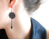 """Black floral lace earrings - tatted - tatting jewellery-  """"Sleeping Beauty"""" collection - lace jewellery"""
