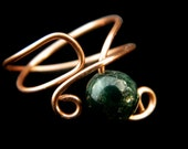 Copper wire wrapped ring china jade size 8 adjustable
