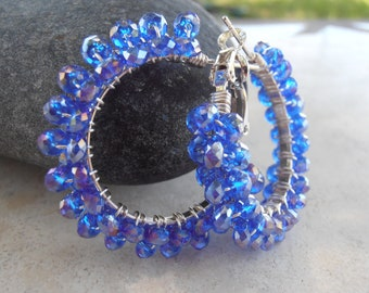 Small Royal Blue Crystal Earrings
