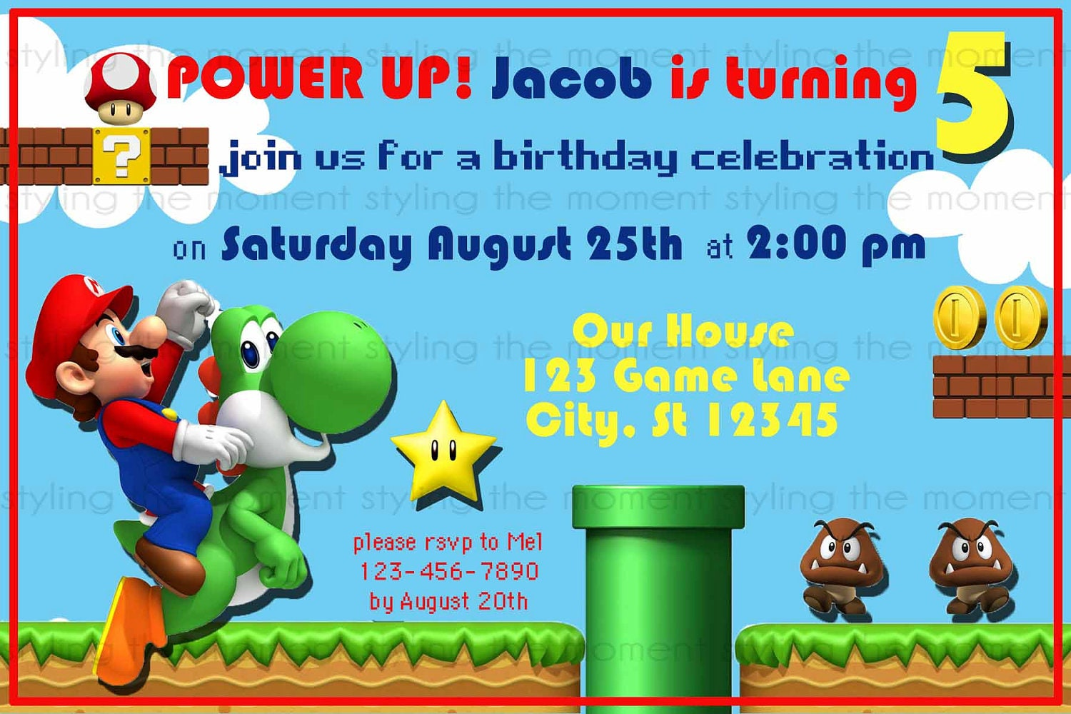 Super Mario Birthday Invitations is an amazing ideas you had to choose for invitation design