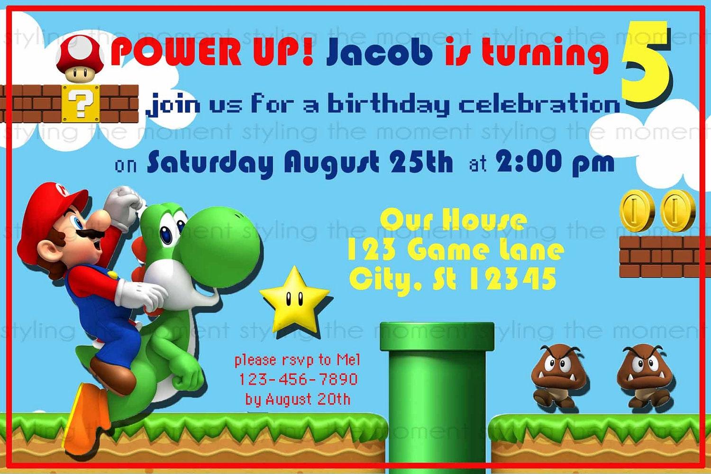 Super Mario Brothers Invitation