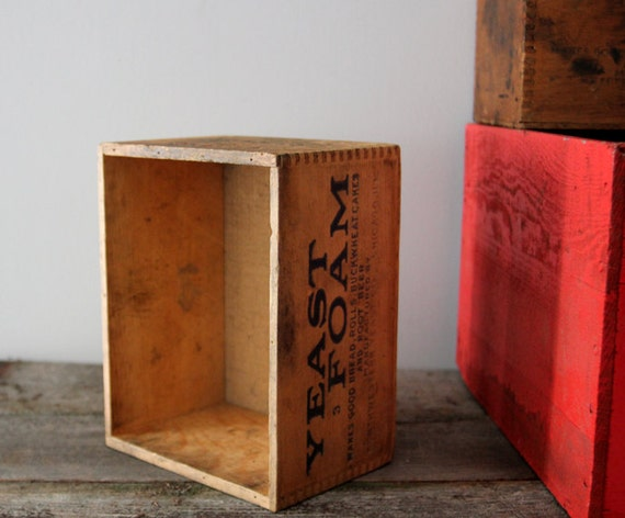 Small Vintage Wooden Yeast Crate