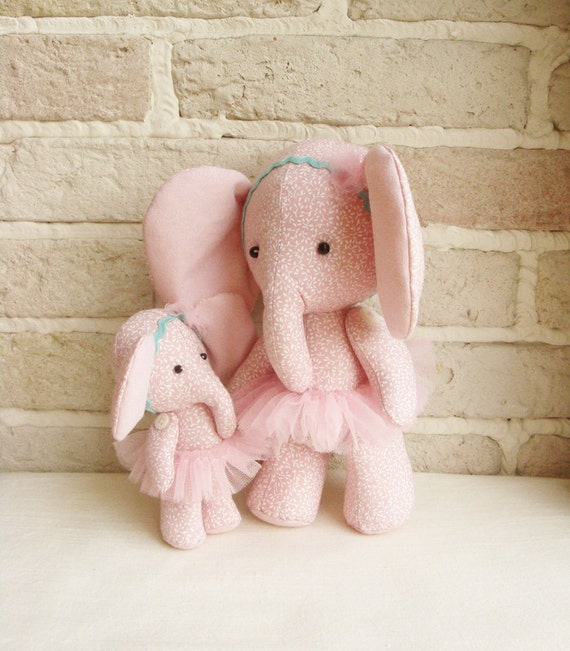 Ballerina Elephant Mother With Her Daughter Hand Made Fabric Stuffed Toys