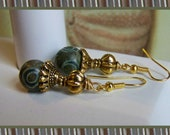Green Mongolian Agate Dangle Beaded Earrings - Army Green Camouflage Earrings