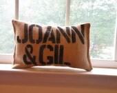 Two Word - Burlap Name Pillow