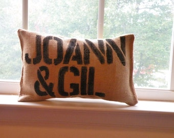 Two Word - Burlap Name Pillow