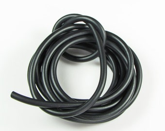 Rubber cord 5mm hollow tubing, black, 6 feet