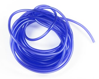 Rubber cord 3mm hollow tubing, dark purple/blue, 9 feet