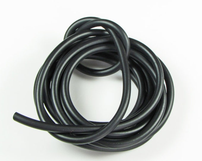 Rubber cord 5mm hollow tubing, black, 6 feet