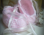 Crocheted Baby Ballet Slippers- (0-6 months) Made to order