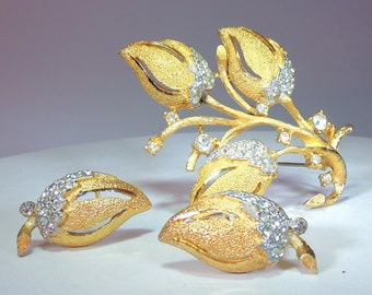 BSK Rhinestone Gold Washed Textured Rose Set