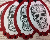 Gothic Halloween Skull Gift Tags Candy Labels Set of 4